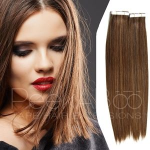 """100% REMY Tape In Hair Extensions 20"""" Warm Brown"""